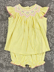 Delaney Yellow Check Knit Bloomer Set