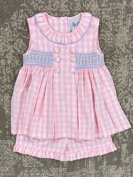 Delaney Pink Button Button Sleeveless Short Set