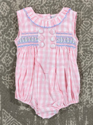Delaney Pink Button Button Sleeveless Bubble