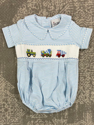 Delaney Blue Stripe Knit Work Trucks Romper