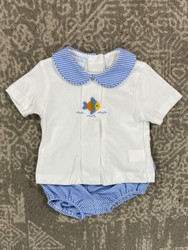 Petit Bebe Periwinkle Fish Knit Diaper Set