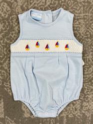 Petit Bebe Periwinkle Stripe Sailboats Knit SunBubble