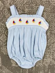Petit Bebe Periwinkle Stripe Sailboats Knit Bubble