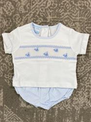 Petit Bebe Blue Check Whale Knit Diaper Set