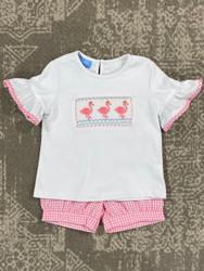 Anavini Flamingo Smocked Girls Short Set
