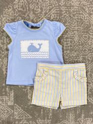 Anavini Whale Light Blue Smocked Girls Short Set