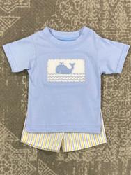 Anavini Whale Light Blue Smocked Boys Short Set