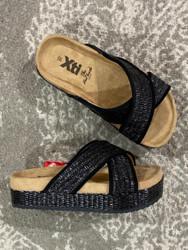 XTI Black Wraphia Wedge Sandal