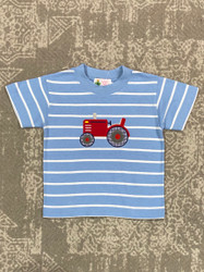 Lily Pads Chambray Stripe Tractor Applique Tee