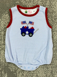Lily Pads Blue Gingham Patriotic Wagon Boy Bubble