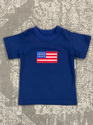 Claire & Charlie Navy 4th Of July Applique Tee