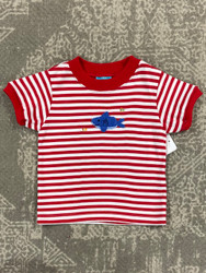 Claire & Charlie Red Stripe Shark Applique Tee