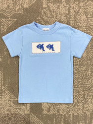 Silly Goose Light Blue Smocked Whales Tee