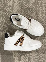 Mia White Cheetah 2 Stripe Sneaker