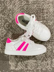 Mia White Neon Pink 2 Stripe Sneaker