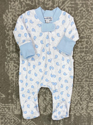 Magnolia Baby Blue Tiny Whale Zipper Footie