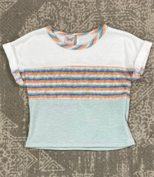 For All Seasons Ivory multi Stripe Knit Top