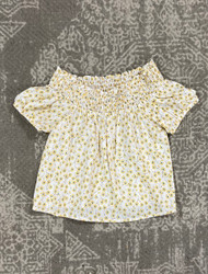 For All Seasons Ivory/Yellow Ditsy Floral Top