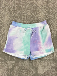 For All Seasons Purple Tie Dye French Terry Shorts