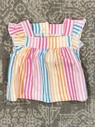 Ruffle Butts Daydream Stripe Flutter Top