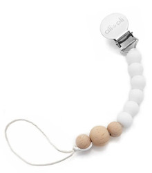 Ali+Oli Pacifier Clip- White Wood