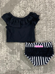 Ruffle Butts Black/White Stripe Ruffles Tankini
