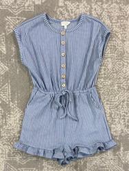Hayden Blue Stripe Knit Romper