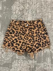 Hayden Leopard Denim Shorts