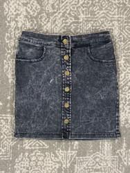 Hayden Black Denim Button Front Skirt