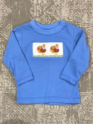 Anavini Periwinkle Blue Turkey Smocked Boys Tee