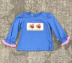 Anavini Periwinkle Blue Turkey Smocked Girls Tee