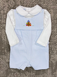 Petit Bebe Blue Check Turkey Jon Jon w/Piped Shirt