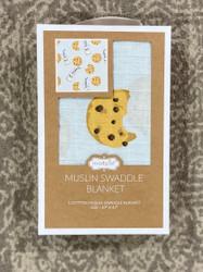 Mud Pie Blue Milk/Cookies Muslin Swaddle