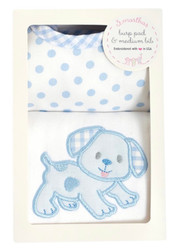 3 Marthas Blue Puppy Burp/Bib Box Set