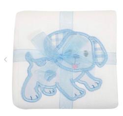 3 Marthas Blue Puppy Applique Burp Cloth