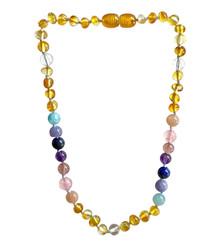 Amber Teething Necklace- Pastel Rainbow