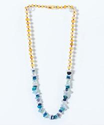 Amber Teething Necklace- Blue Gemstones