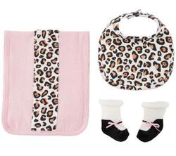 MudPie Leopard Burp,Bib & Sock Set