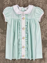 LuLu Bebe Mint Turkey Emb. Dress with Ruffle