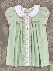 LuLu Bebe Light Green Gingham Pumpkin Emb. Dress