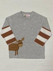 Lily Pads Grey/Mocha Stripe Moose L/S Tee