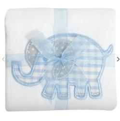 3 Marthas Blue Elephant Applique Burp