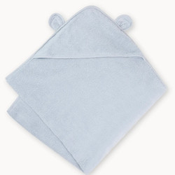 Organic Cotton Hooded Towel- Blue
