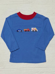 Claire & Charlie Periwinkle Blue Rescue Cars Tee