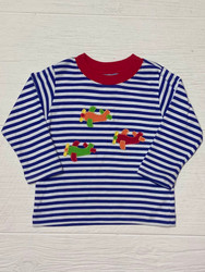 Claire & Charlie Royal Blue Stripe Airplanes Tee