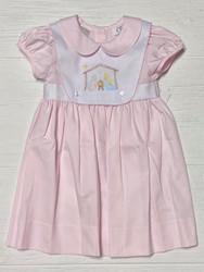 LuLu Bebe Pink Manger Scene Emb. Dress