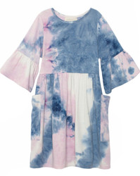 Mabel & Honey Purple Frilly Knit Tie Dye Dress