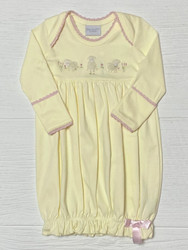 Squiggles Butter Yellow 3 Lambs Lap Shoulder Gown