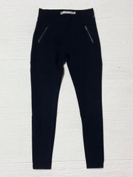Tractr Black Knit Legging with Leather Pocket Trim