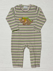 Squiggles Brown/Green Stripe Dino Coverall